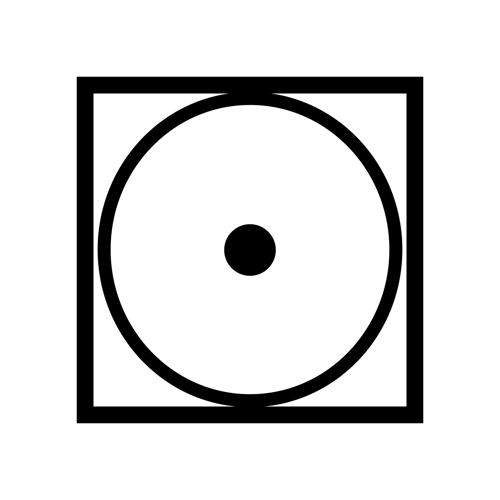 Square with circle inside and single dot