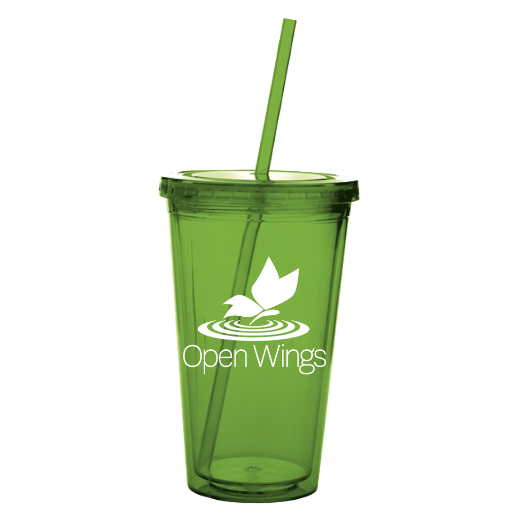 Open Wings Acrylic Tumbler w Straw 18 oz