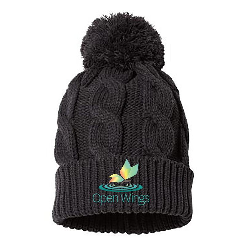 Open Wings Chunk Cable Pom Beanie