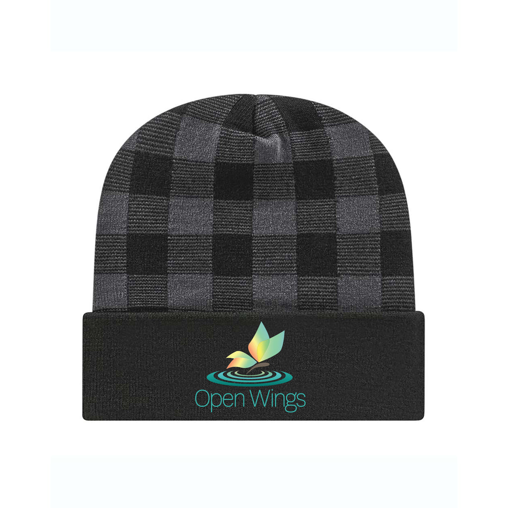 Open Wings Classic Plaid Knit Cap with Cuff