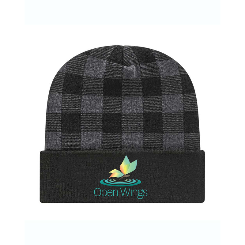 Open Wings Plaid Knit Cap with Cuff