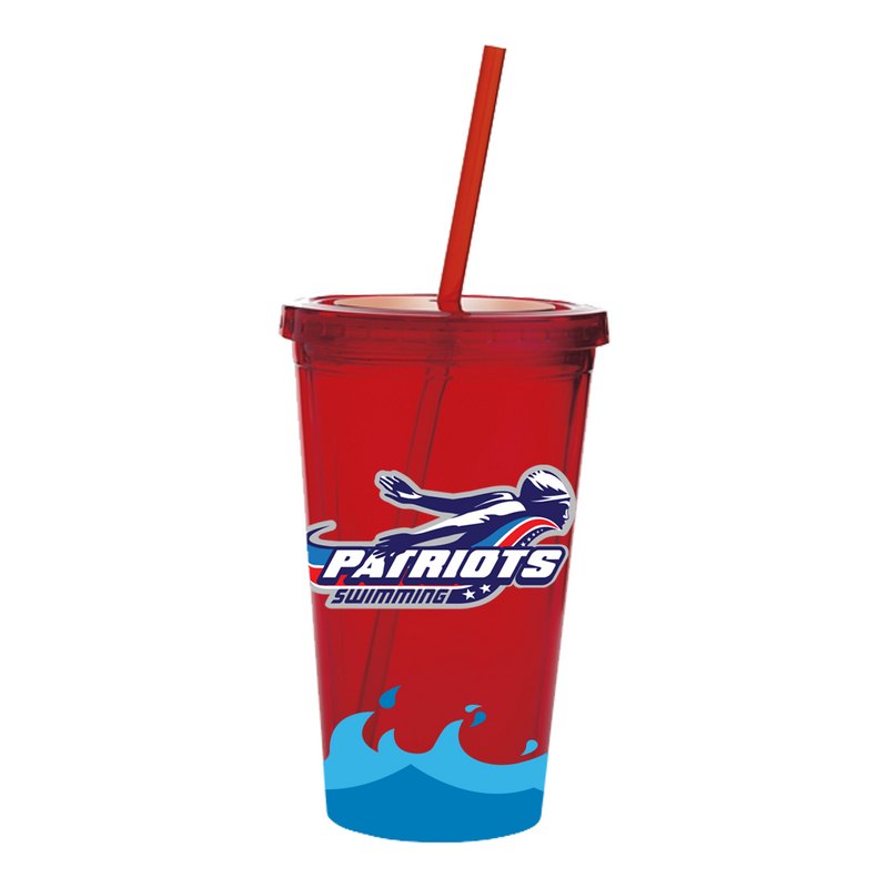 Patriots Acrylic Tumbler w Straw 18 oz (2 colors)