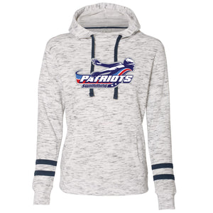 Patriots Ladies Melange Fleece Varsity Stripe Hoodie (2 colors)