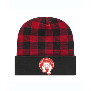 Paris Plaid Knit Cap with Cuff