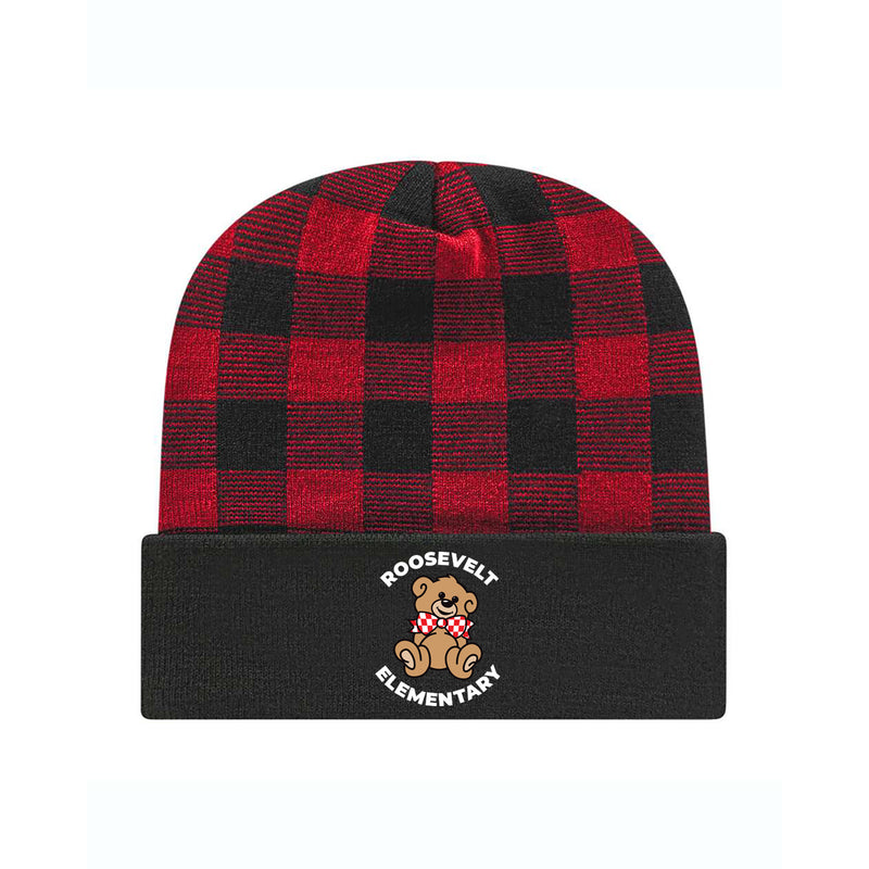 Roosevelt Plaid Knit Cap with Cuff