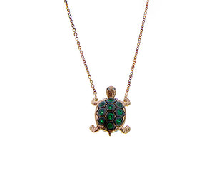 Pink gold necklace with turtle set with tsavorites and champagne diamonds