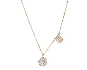 Rose gold necklace with two pave set rounds
