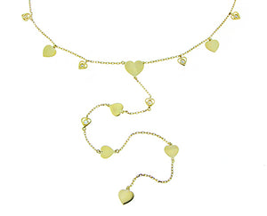 Yellow gold necklace dangling hearts and diamonds