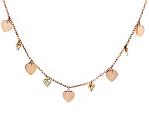 Rose gold necklace dangling hearts and diamonds