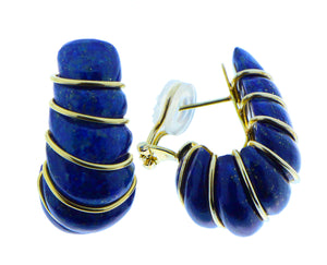 Lapis lazuli earrings with yellow gold