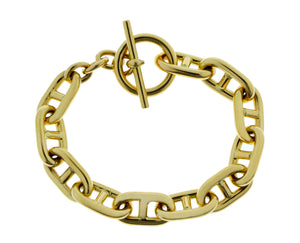 Yellow gold bracelet with toggle closure