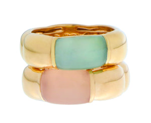 Yellow gold rings with pink chalcedony or prehnite