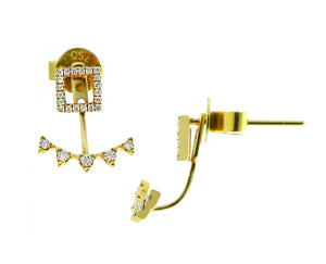 Yellow gold studs, diamond square with five diamonds underneath