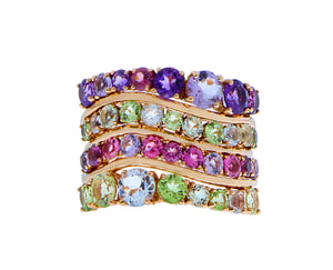 Rose gold ring with amethyst, rhodolite, tourmaline, quartz and peridot