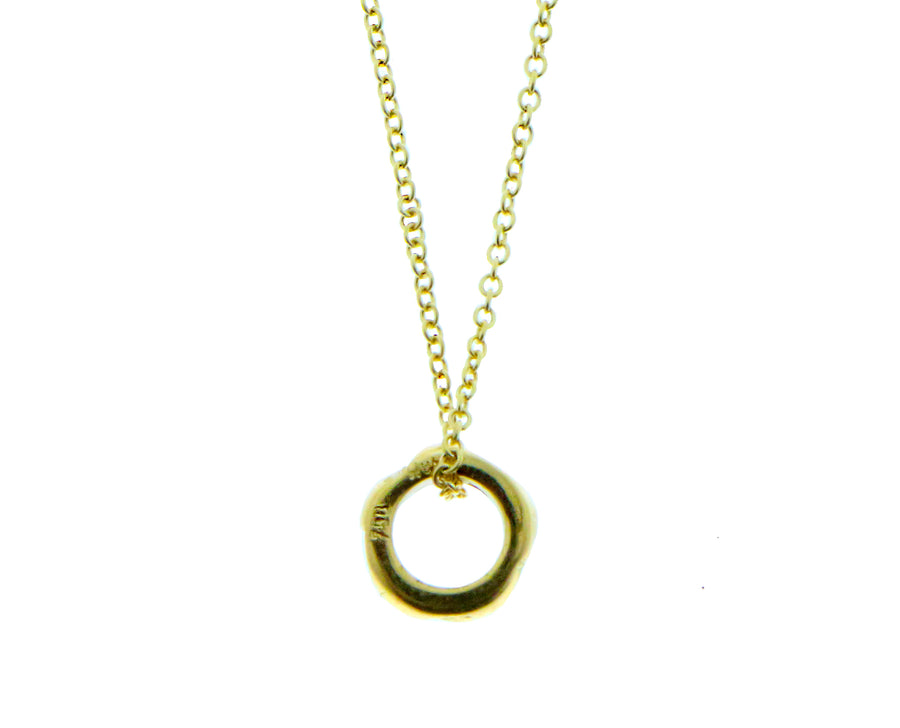 Yellow gold necklace with a diamond ring