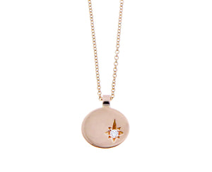 Rose gold necklace, coin pendant with a diamond