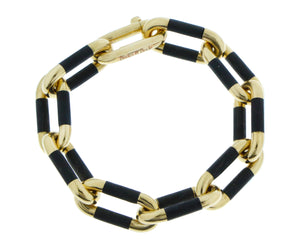 Yellow gold and ebony bracelet
