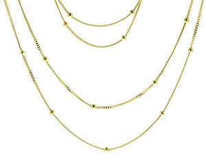 Yellow gold double necklace with small balls