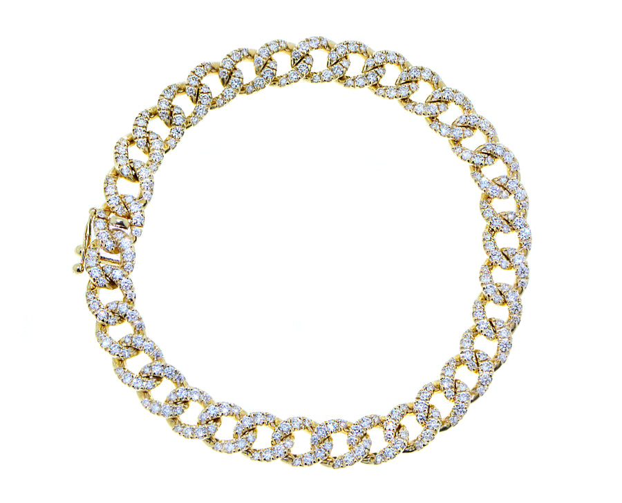 Yellow gold chain bracelet with diamonds