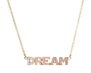 Rose gold necklace with DREAM pendant