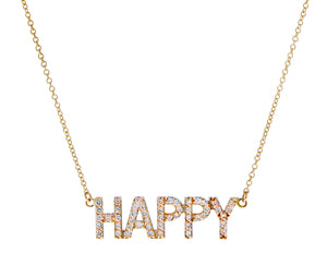 Rose gold necklace with a diamond HAPPY pendant