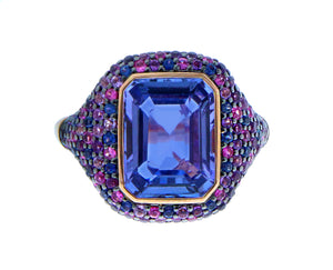 Rose gold ring tanzanite and sapphires