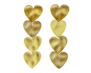Yellow gold hearts earrings