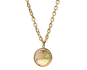 Yellow gold necklace with a globe pendant