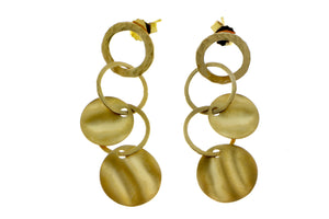 Yellow gold earrings with rings and coins