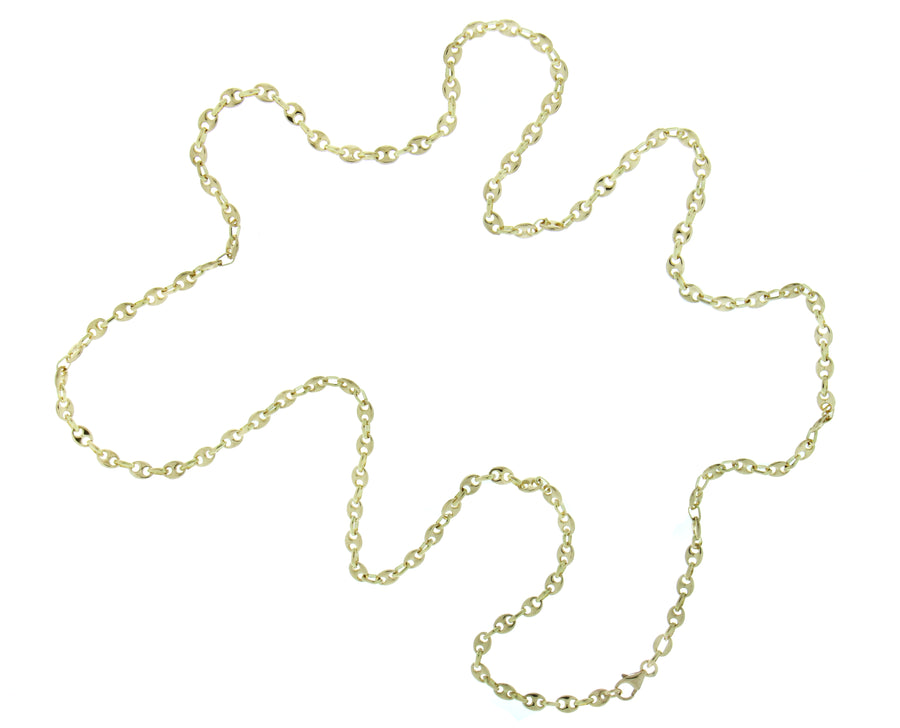 Yellow gold necklace coffee bean link