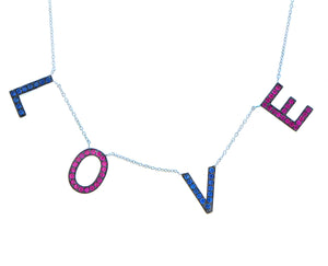 white gold L-O-V-E necklace with pink and blue sapphire