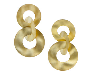 Yellow gold earrings three rings