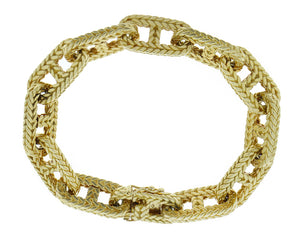 Yellow gold anchor chain bracelet