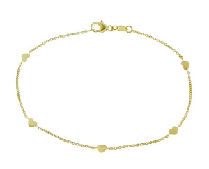 Yellow gold bracelet with 5 hearts