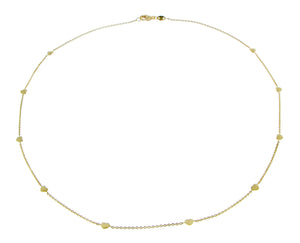 Yellow gold necklace with 10 hearts