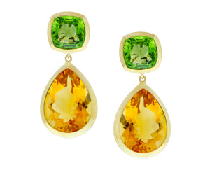 Yellow gold earrings with peridot and citrine