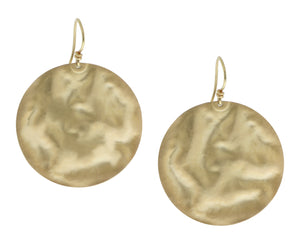 Yellow gold round earrings