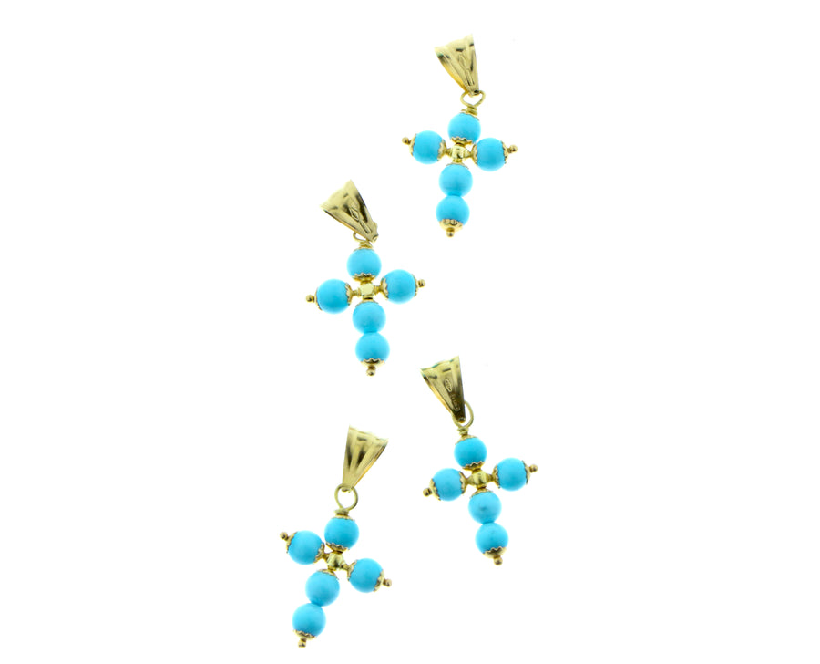 Yellow gold coral or turquois pendants