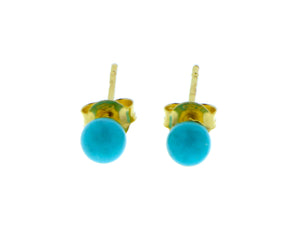 Yellow gold and turquois studs