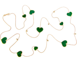 Yellow gold necklace with diamonds and malachite hearts