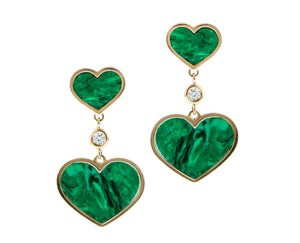 Yellow gold earrings with diamonds and malachite hearts