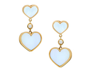 Yellow gold earrings with diamonds and white mother of pearl hearts