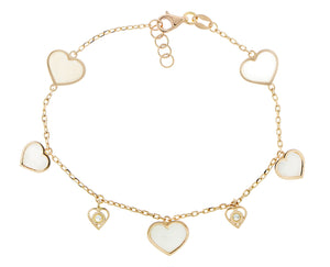 Rose gold bracelet with diamonds and white mother of pearl hearts