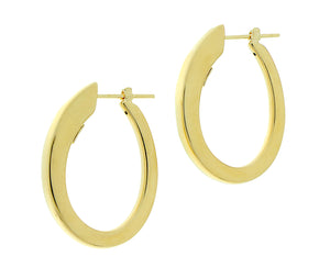Yellow gold oval earrings