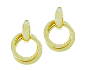 Yellow gold earrings with double ring pendants