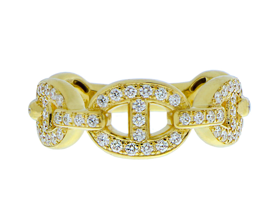Yellow and white gold chain ring with diamonds