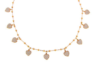 Rose gold necklace with diamond heart charms