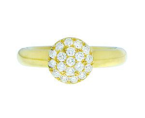 Yellow gold ring with a diamond circle