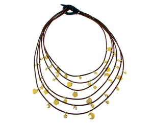 Brown leather necklace with yellow gold charms