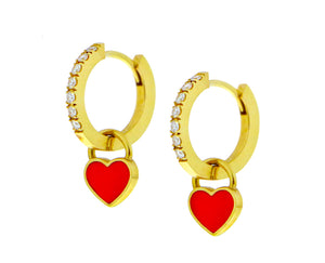 Yellow gold and diamond creoles with red enamel heart